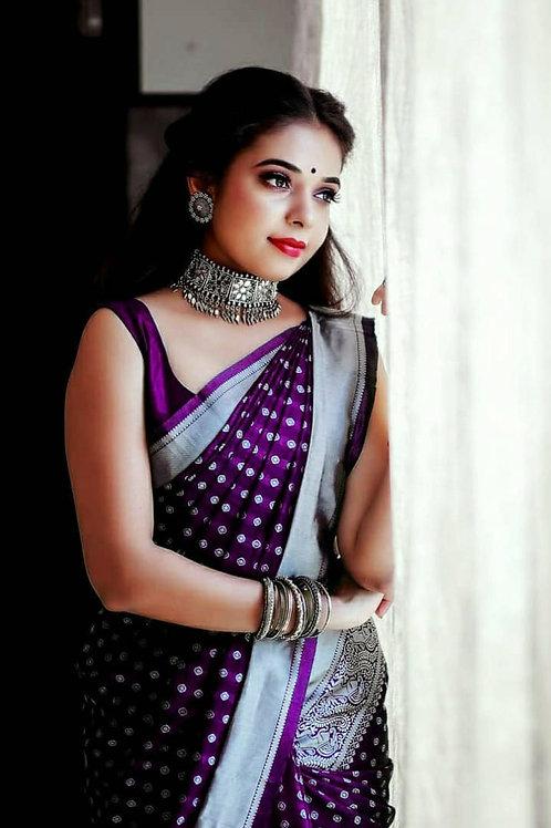 Purple Color Traditional Banarasi Silk Blend Saree