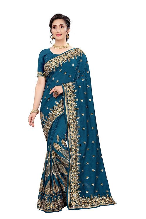 Beautiful Morpeach Colour Silk  Saree