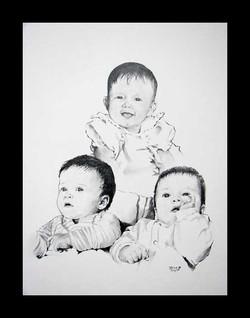 Collage of 3 siblings as babies