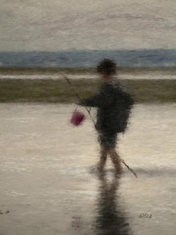 Tidal flats with boy with bucket