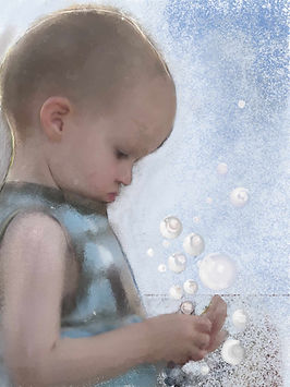 Boy painting with bubbles, fantasy, done in soft colours