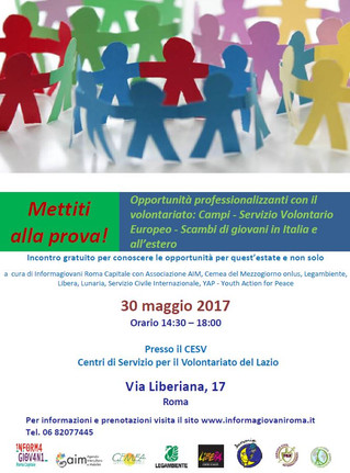 SVE-Campi di volontariato- Scambi giovanili: 30 maggio, incontro per conoscere tutte le opportunità