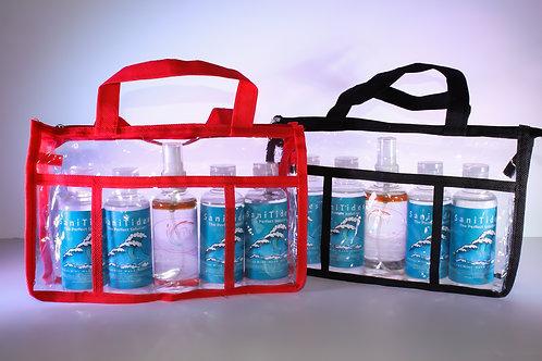 Multi-Pack: 4 Traveler SaniTides & 1 Verity Spray in Clear Carry Bag