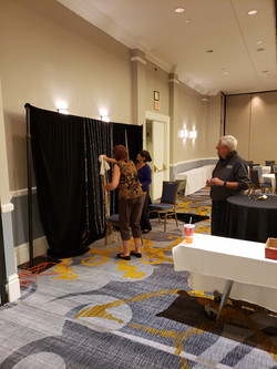 Setting up the photo booth.