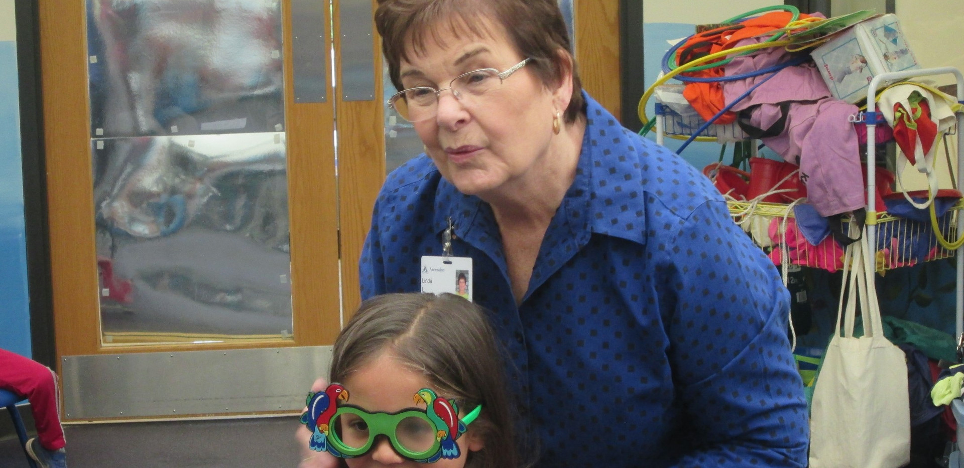 Ascension Mercy Hospital Volunteers in Oshkosh.  Our Children's Screening Services group does vision testing in the preschools.