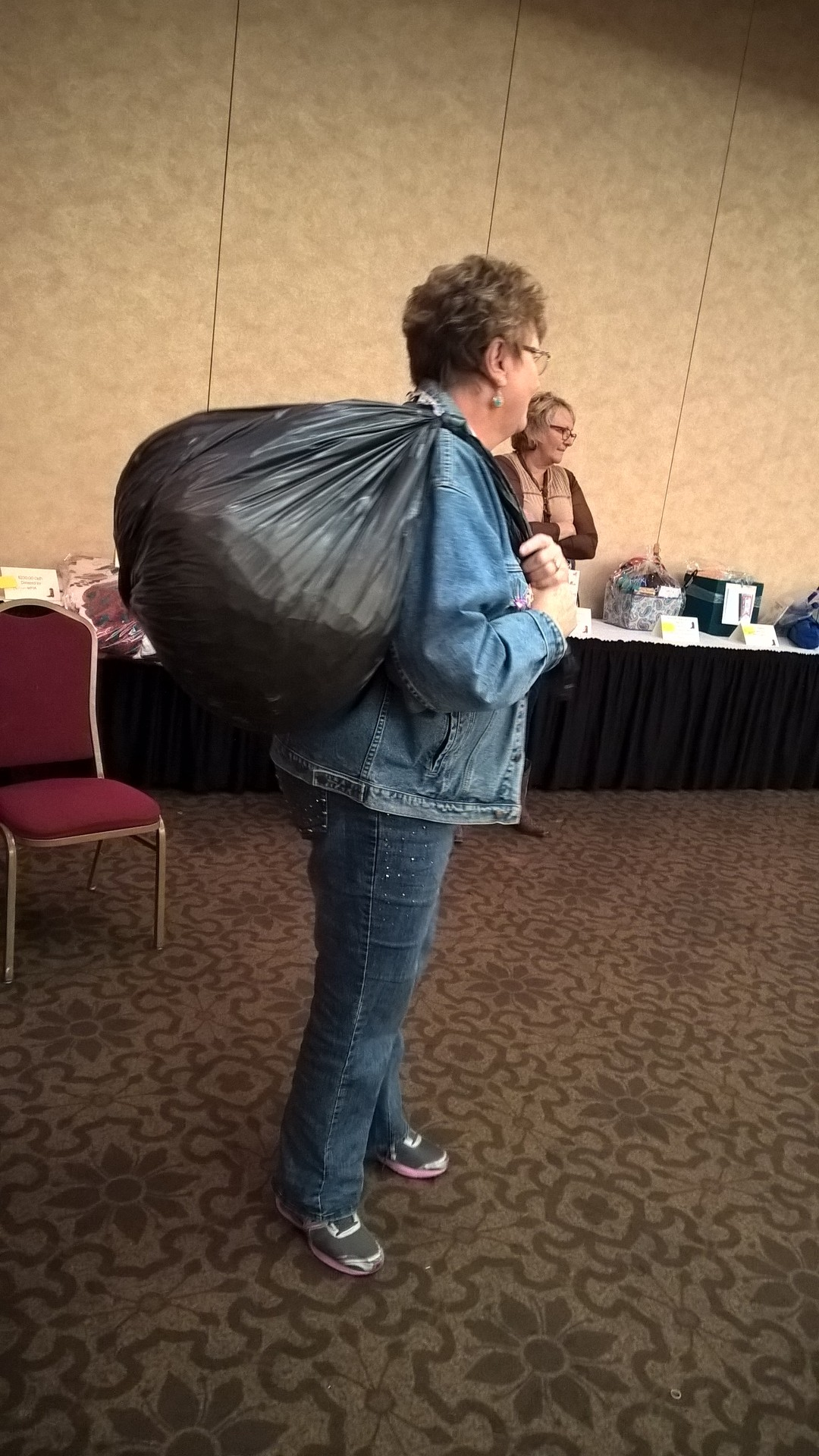 Gayle and her raffle ticket sack!