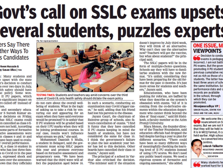 Govt's call on SSLC exams upsets several students, puzzles experts - Times of India - 5th June 2021