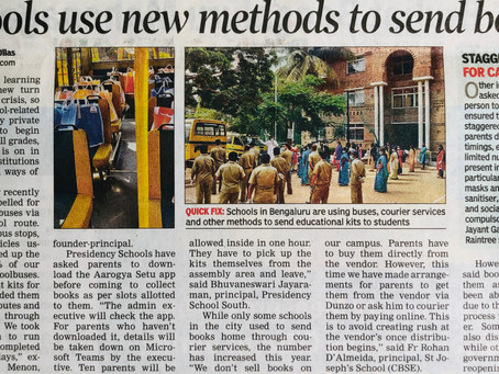 Schools use new methods to send books - Times of India 30th May 2020