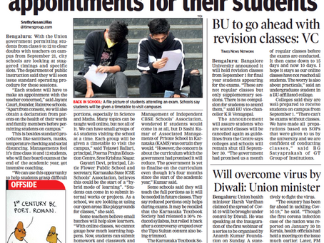Schools Mull staggered timings, appointments for students - Times of India - 31st Aug 2020