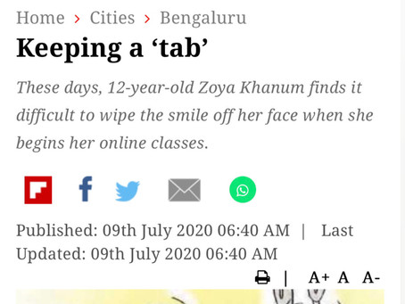 Keeping a 'tab' - New Indian Express - 9th July 2020