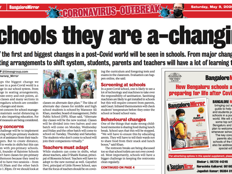 Schools they are a-changing - Bangalore Mirror 9th May 2020
