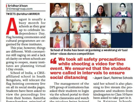 Schools to take I-Day celebrations online - 10th August 2020