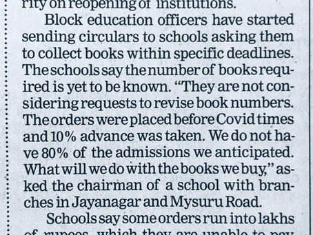 Govt. arming twisting us says Private Schools - Times of India - 10th July 2020