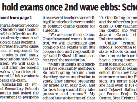 Will hold exams once 2nd wave ebbs: Schools - Times of India - 14th May 2021