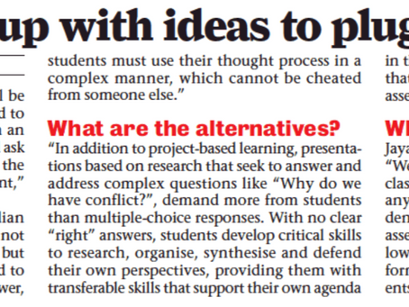 Schools come up with ideas to plug malpractice - Bangalore Mirror - 30th August 2020