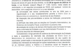 EDITAL DE CONVOCAÇÃO - Santa Casa de Misericórdia de Jardinópolis-SP
