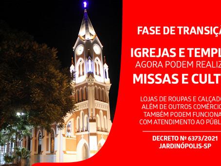 Igrejas e Templos podem realizar missas e cultos em Jardinópolis; menos restrições para os comércios