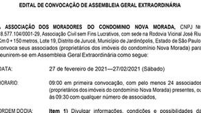 EDITAL DE CONVOCAÇÃO - Moradores do Condomínio Nova Morada
