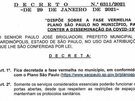 Novo Decreto em Jardinópolis segue regras da fase vermelha