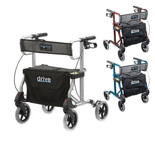 Drive Diamond Folding Rollator Wheeled Walking Frame 4 Wheel Mobility Walker