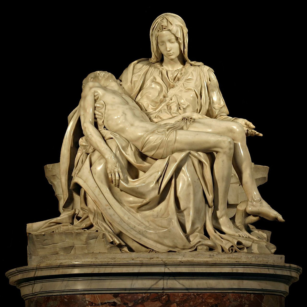 "The Pietà (meaning ""Pity"" in English) by Michelango is a marble sculpture depicting Mary holding the body of Jesus after his crucifixion."