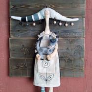 Кукла текстильная Феня с кошкой