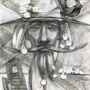 Дон Кихот. (бум., чёрн. карандаш, акрил)