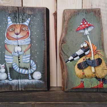 Кот со снежком. Ворона с мухомором