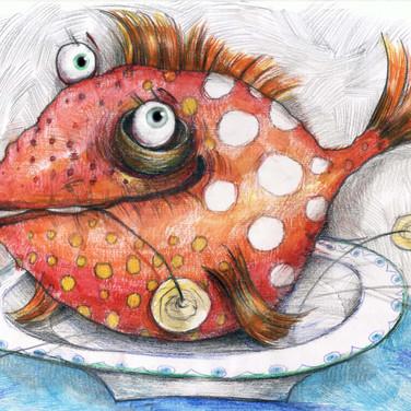 рыбка (бум., цв. акв. карандаши)
