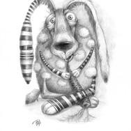 Заяц Прошка с морковкой.(бум., чёрн. кар)