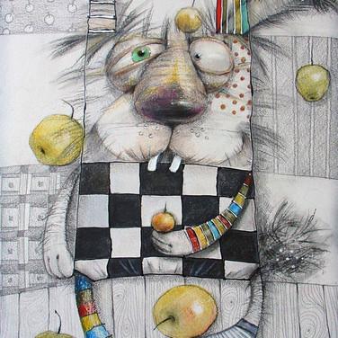 Заяц с яблоками. (бум., цв. карандаш)