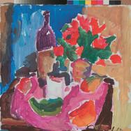 Натюрморт с красными цветами и перцем 20