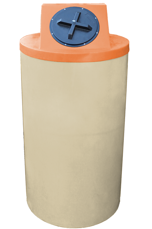 Tan Big Bin with Orange Lid
