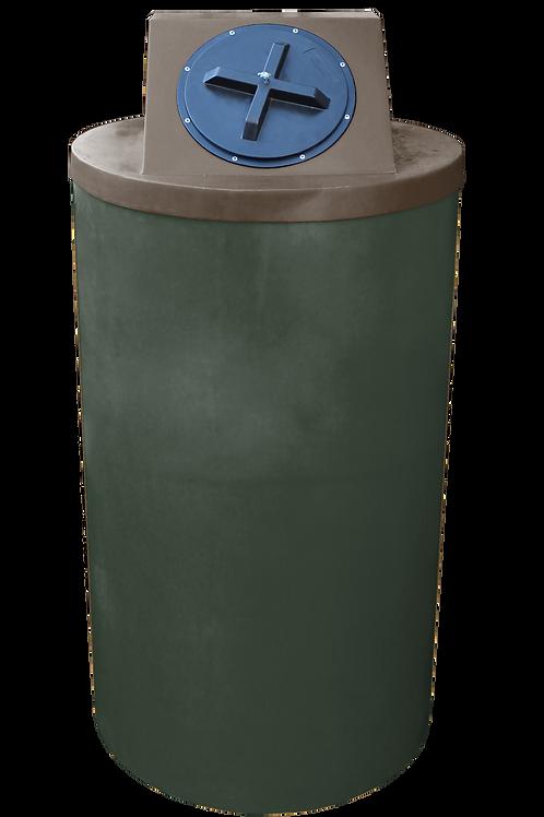 Bottle Green Big Bin with Brown lid