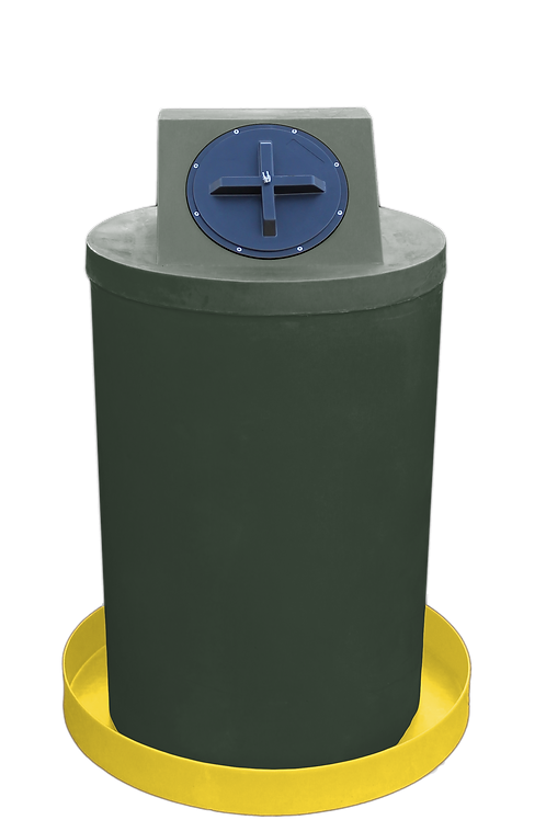 Bottle Green Drum Crown with Yellow spill pan