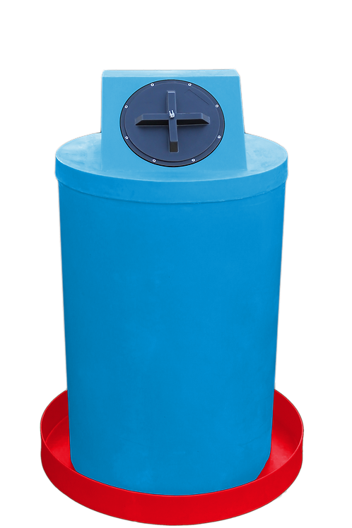 Cadet Blue Drum Crown with Red spill pan