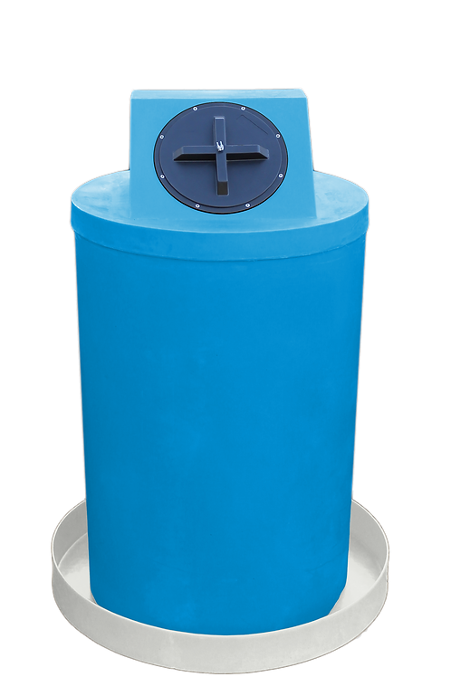 Cadet Blue Drum Crown with Natural spill pan