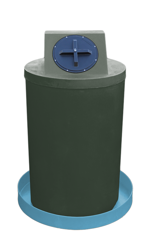Bottle Green Drum Crown with Powder spill pan