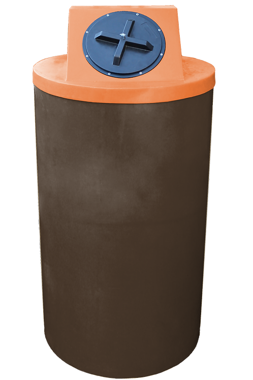 Brown Big Bin with Orange Lid