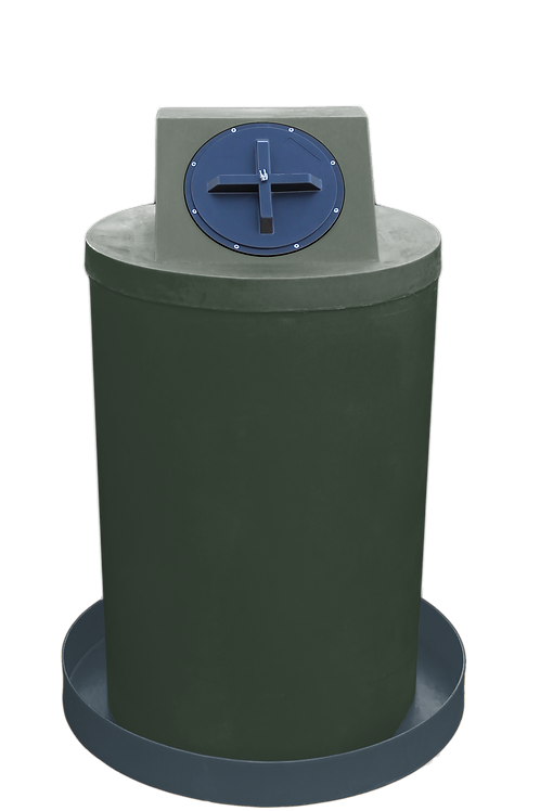 Bottle Green Drum Crown with Dark Gray spill pan