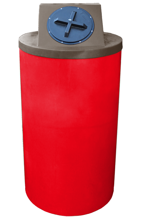 Red Big Bin with Brown Lid