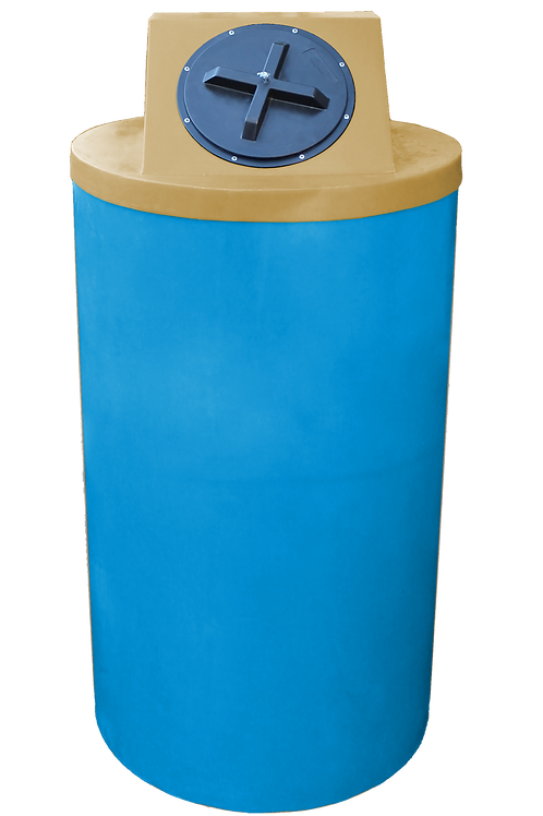 Cadet Blue Big Bin with Gold Lid
