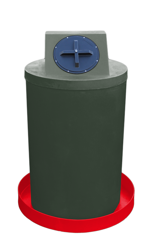 Bottle Green Drum Crown with Red spill pan