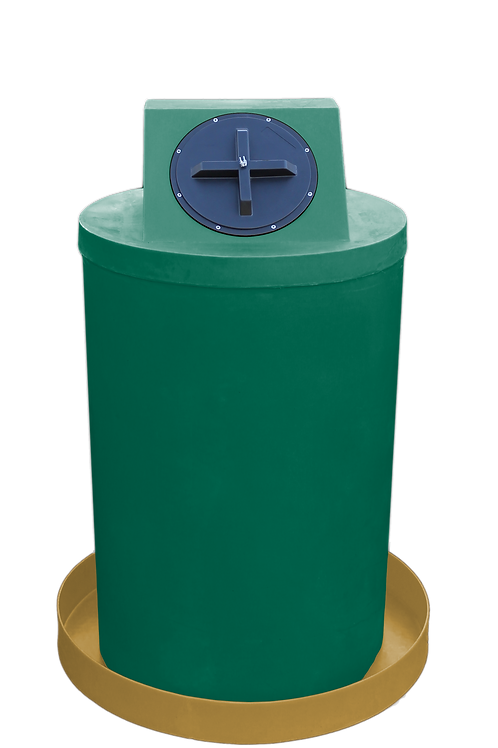 Hunter Green Drum Crown with Gold spill pan