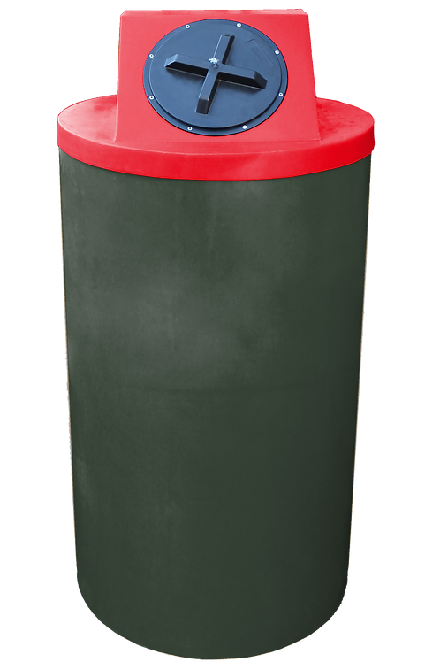 Bottle Green Big Bin with Red lid