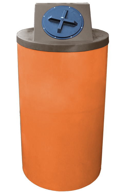 Orange Big Bin with Brown Lid
