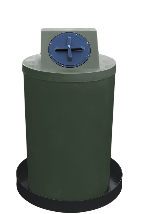 Bottle Green Drum Crown with Black spill pan