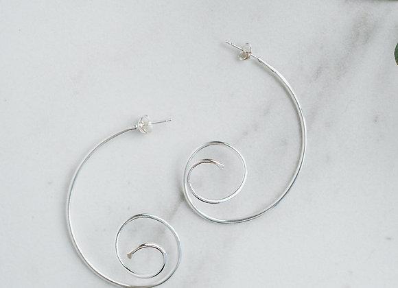 Handmade sterling silver half hoop spiral earrings