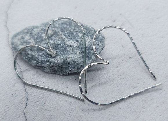 SterlingSilver Heart Hoop Earrings