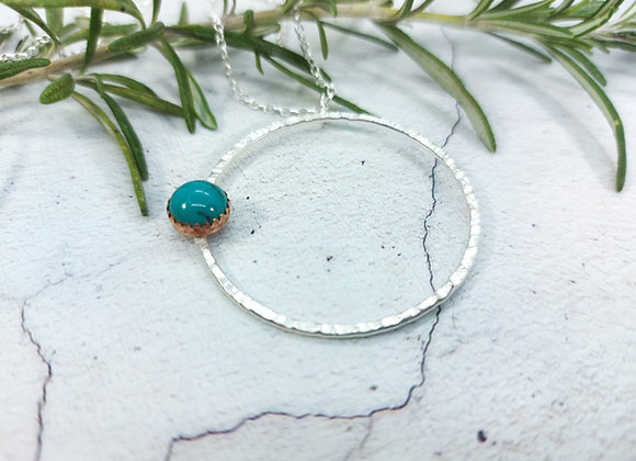 Silver Hoop and Turquoise Necklace